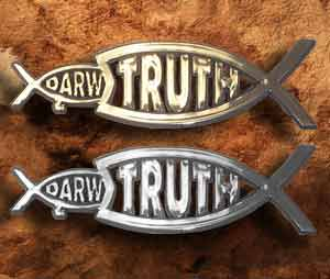 Photo: 'Truth eats Darwin' decals.