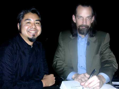 Photo: Joey deVilla getting his copy of 'Quicksilver' autographed by Neal Stephenson.