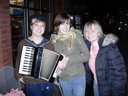 Photo: Toronto's new sensation, Accordion Girl and friends. Taken outside Lettieri Cafe at Queen and Spadina.