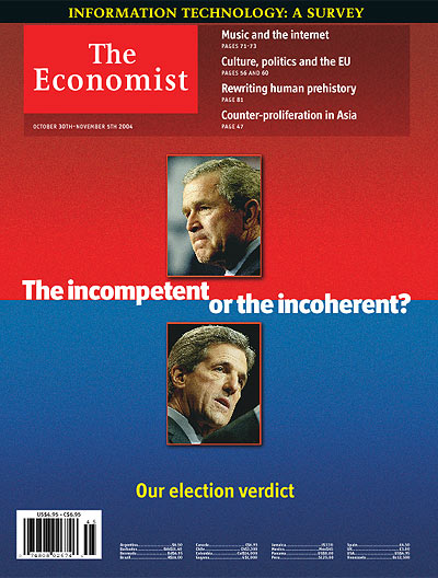 Photo: Cover of 'The Economist', featuring photos of Bush and Kerry. Heading is: 'The Incompetent or the Incoherent?'