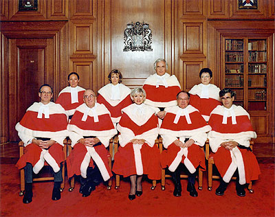 Photo: Canadian Supreme Court Judges as of December 2004.