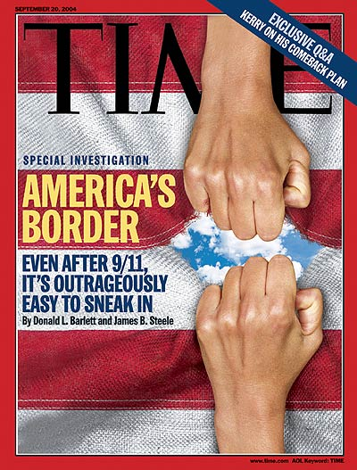 Photo: Time magazine showing two hands pulling apart the American flag.