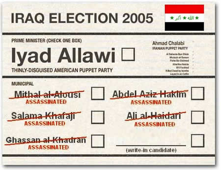 Photo: National Lampoon parody Iraq vote ballot featuring Iyad Allawi of the 'Thinly Disguised American Puppet Party', Ahmad Chalabi of    the 'Iranian Puppet Party' and several assasinated municipal candidates.
