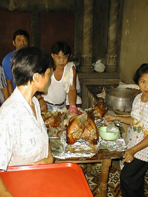 Photo: Lechon being served at my grandmother's house in San Juan, Batangas, Philippines.
