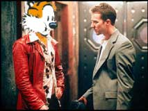 Photo: Tyler Durden and 'Jack' from 'Fight Club'. Tyler has Hobbes' head.