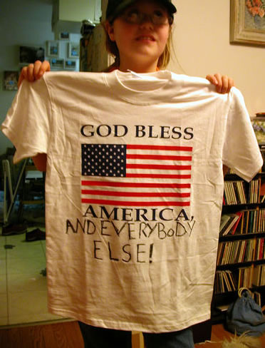 Photo: Pippa Adam and her 'God Bless America...and everybody else' T-shirt.