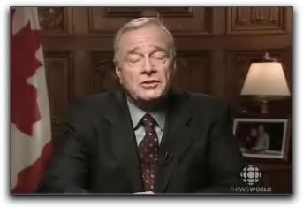 Photo: Still from Canadian Prime Minister Paul Martin's address to the nation.