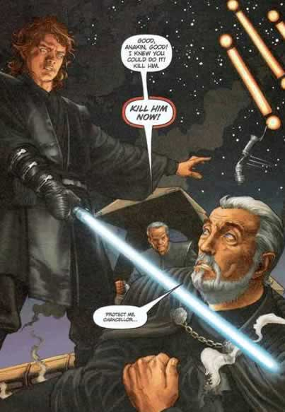Screen shot: Scanned comic book adaptation of Star Wars: Revenge of the Sith.