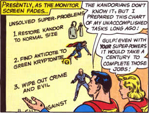 Comic: A panel from 'Superman 162' in which Superman and Supergirl review a list of his undone super-tasks.