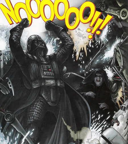 Comic panel: 'NOOOOOO' scene from 'Revenge of the Sith'.