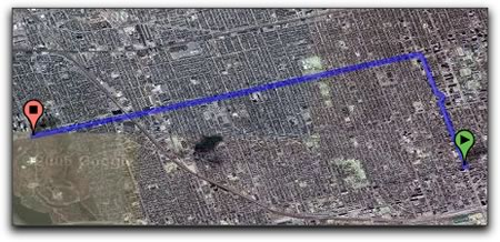 Screen capture: Portion of a Google satellite photo showing the route from Queen and Spadina to Bloor and High Park, Toronto, Ontario