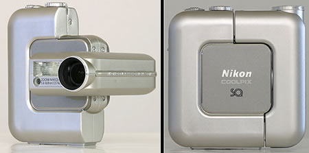 Photo: Two pictures of the Nikon Coolpix SQ: one in the 'swiveled' position, one in the 'closed' position.