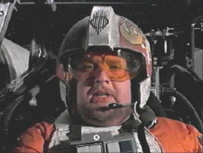 Photo: Porkins in the cockpit of his X-wing fighter.