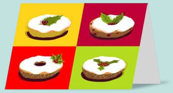 Graphic: 'Chrismukkah' card featuring bagels with cream cheese and holly.